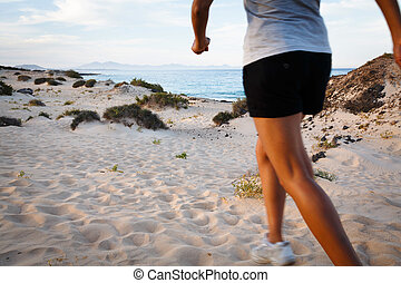 Runner on beach - Asian Indian woman exercising outdoors on...