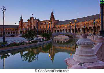 Square of Spain at night, Sevilla, Spain - Square of Spain...