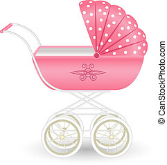Sweet pink pram isolated on white background