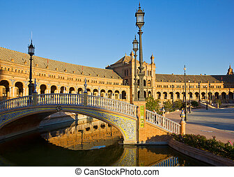 Plaza de España in Seville - bridge on Plaza de Espana, in...