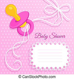 Pink Baby Shower card with pacifier on polka dots background