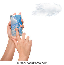 Hhand holding mobile phone with cloud computing