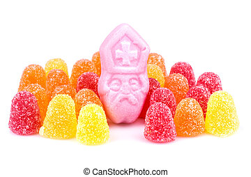 Arangement of colorful sweets. Candy at Dutch Sinterklaas...