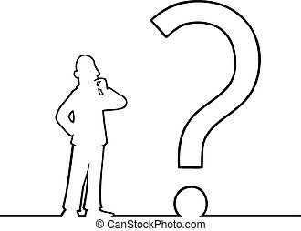 Man with big question mark - Black line art illustration of...