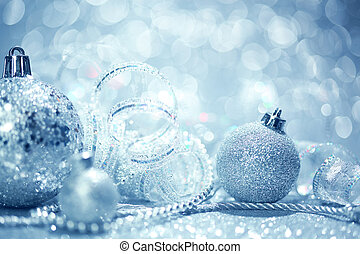Blue Christmas background - Blue Christmas ornaments...