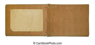 Vintage photo album for photos on white isolated background
