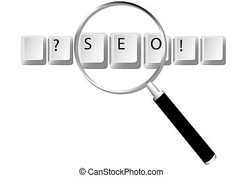 SEO keys magnifying glass search optimized searches - Easy...