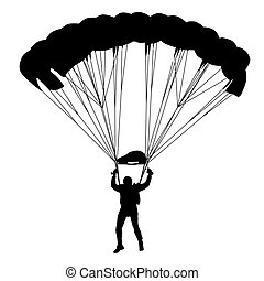 Skydiver, silhouettes, Parachutage, vecteur, Illustration