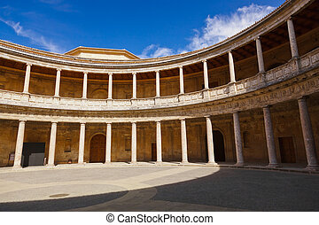 Central Courtyard in Alhambra palace at Granada Spain