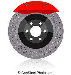 Brake disc with caliper, vector illustration