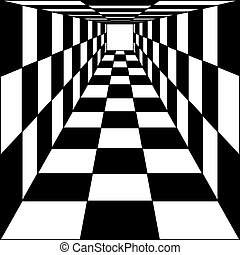 abstract background, chess corridor tunnel Vector...