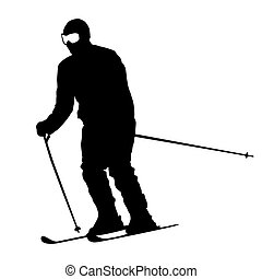 Mountain skier speeding down slope Vector sport silhouette...