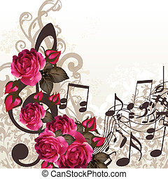 Music vector background with treble - Floral vector...