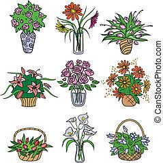 flower bouqets in vases Vector illustration