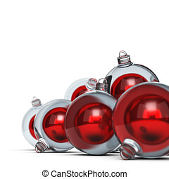 Christmas Balls - Red christmas balls over white background...