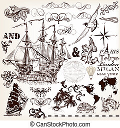 Collection of vector hand drawn elements on marine theme for...