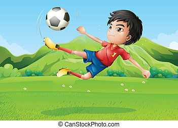 A young boy playing football at the field - Illustration of...