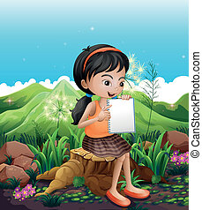 A girl sitting above a stump with a notebook - Illustration...