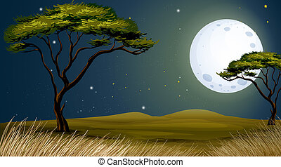 A tree and the bright fullmoon - Illustration of a tree and...