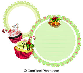 A round christmas design with cupcakes