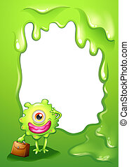 A green border design with a monster holding a bag -...