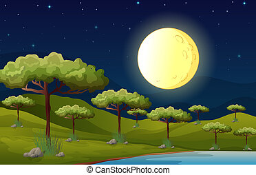 A bright fullmoon lighting the forest - Illustration of a...