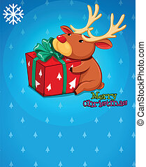 A christmas card with a gift and a deer - Illustration of a...