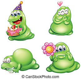 Four green monsters with different activities - Illustration...