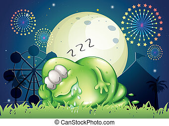 Illustration of a fat monster sleeping at the carnival in the middle of the night