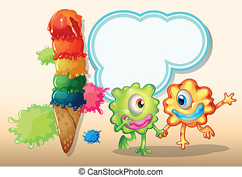 Two monsters holding their hands near the giant icecream