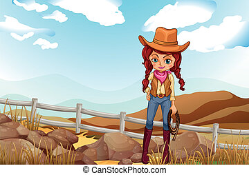 A pretty cowgirl near the rocks - Illustration of a pretty...
