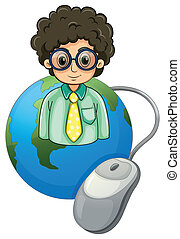 A globe with a curly-haired man wearing an eyeglass -...
