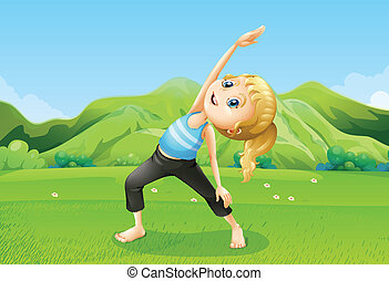 A girl exercising barefoot at the field - Illustration of a...