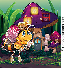 A flying bee near the enchanted mushroom house -...