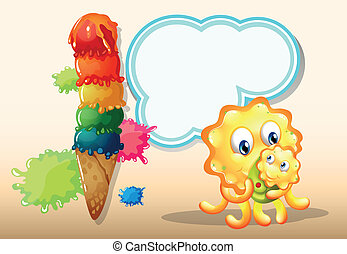 A mother monster with her baby near the big icecream