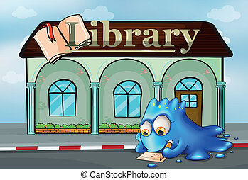 A monster writing in front of the library - Illustration of...
