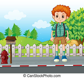 A tall man standing at the street - Illustration of a tall...