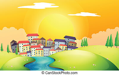 A flowing river at the village - Illustration of a flowing...