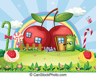 A monster going to the apple house - Illustration of a...