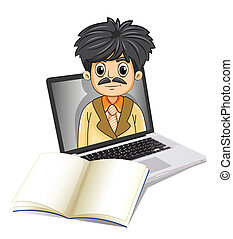 Illustration of a business icon inside the laptop screen with an empty notebook in front on a white background