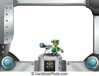 A metallic frame with a robot and a telescope - Illustration...