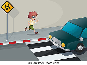 A boy running near the pedestrian lane - Illustration of a...