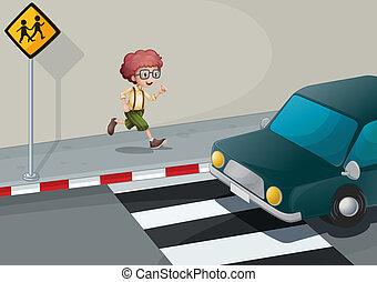 A boy running near the pedestrian lane - Illustration of a...
