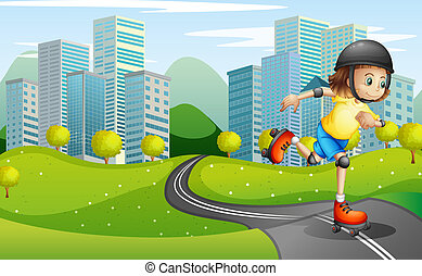 A girl rollerskating at the road with a safety helmet -...