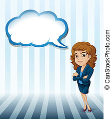 A woman with an empty cloud callout - Illustration of a...
