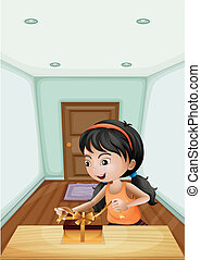 A girl unwrapping the gift inside the room - Illustration of...