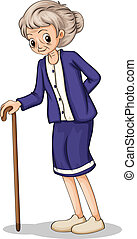 An old woman using a wooden cane - Illustration of an old...
