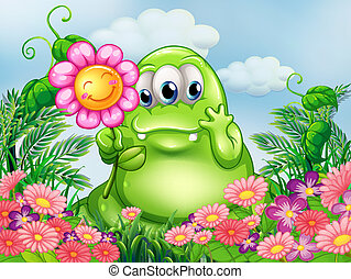A fat green monster in the garden - Illustration of a fat...