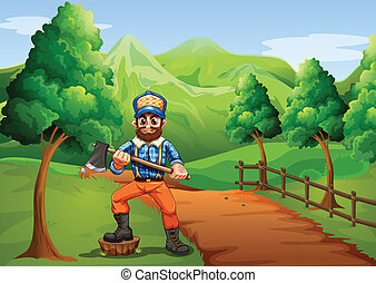 A lumberjack near the road carrying an axe - Illustration of...