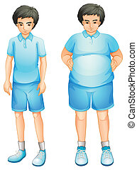 A thin and a fat boy in a blue gym uniform - Ilustration of...
